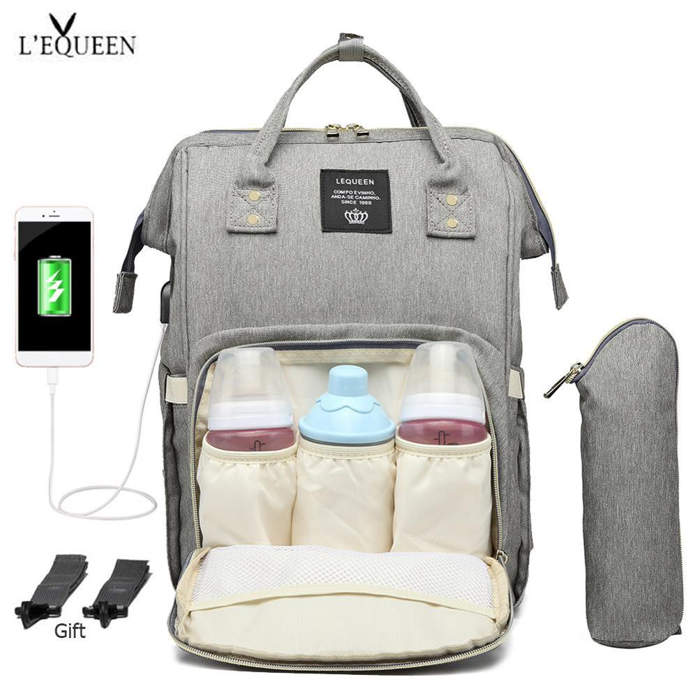 LEQUEEN  Mummy Maternity Nappy Bag Waterproof USB Charging Large Mummy Nursing Backpack Diaper Bag Brand Large Capacity Bag