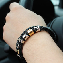 New Men Jewelry Punk Braided Leather Bracelet Stainless Steel Magnetic Clasp Fashion Bangles Gifts
