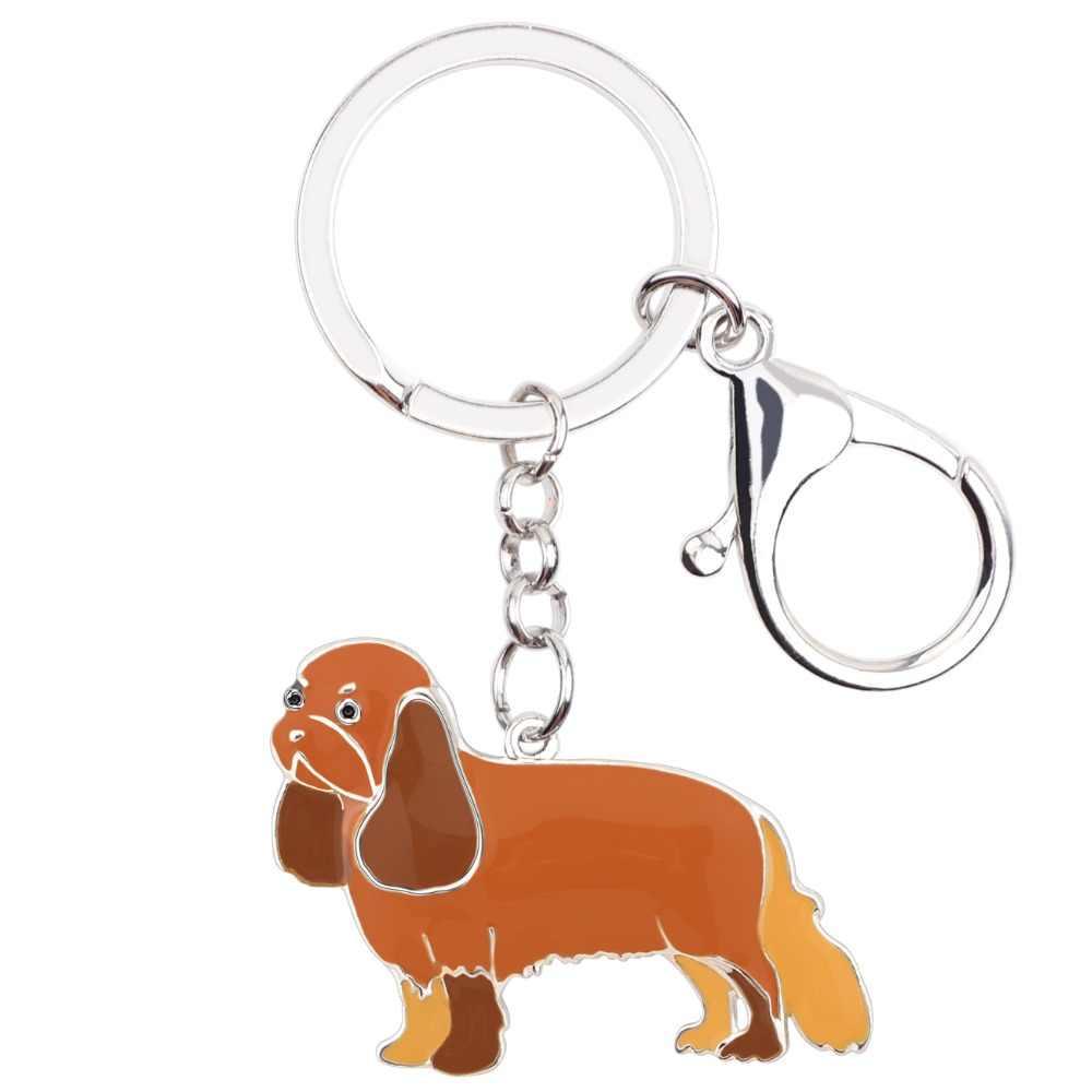 WEVENI эмаль металл кавалер король Шарль собака спаниеля брелоки цепочки брелок кольца аниме ювелирные изделия для женщин девочек сумки автомобиля амулеты