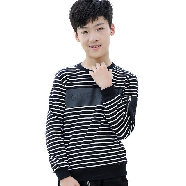 Menino crianças roupas crianças manga longa t-shirts Primavera adolescente crianças Camisetas de Algodão de Manga Longa tarja Camisa de T Para O Menino YL180