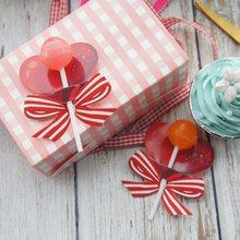 50 stücke rot herz bowdesign lollipop abdeckung als baby dusche geburtstag hochzeit candy schmücken party dekoration Weihnachten geschenk DIY