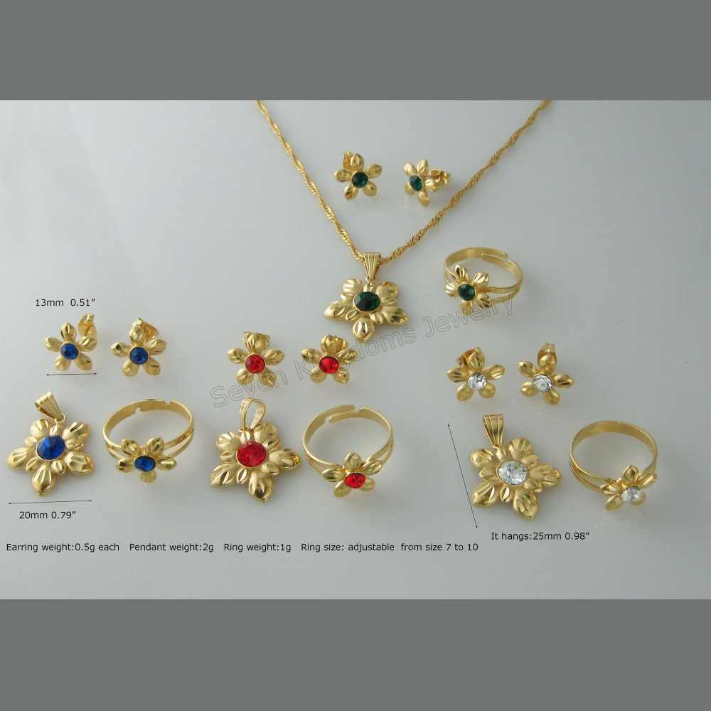 MIN ORDER 10$ GREAT FOUR COLORS STONE STYLE - YELLOW GOLD OVERLAY ZIRCON  STONE FLOWER SHAPE PENDANT NECKLACE EARRING RING SET