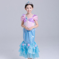 Dress for girl mermaid ariel princess dress costumes for girls kids clothing Girls clothes free shipping