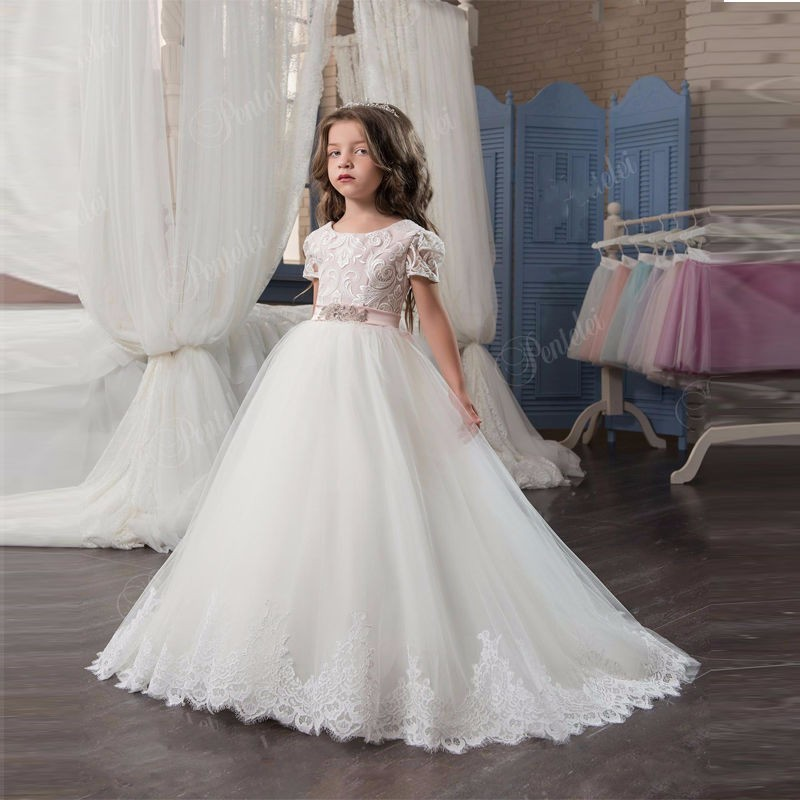 Elegant Flower Girl Dress For Wedding Lace Appliques With Sash Short Sleeve Ball Gown Girl's Pageant Gowns elegant flower lace lacut cut wedding invitations set blank ppaer printing invitation cards kit casamento convite pocket
