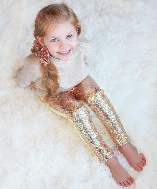 Брюки с пайетками для девочки розовые и золотые леггинсы с пайетками блестящие штаны сверкающие леггинсы штаны с пайетками для девочки