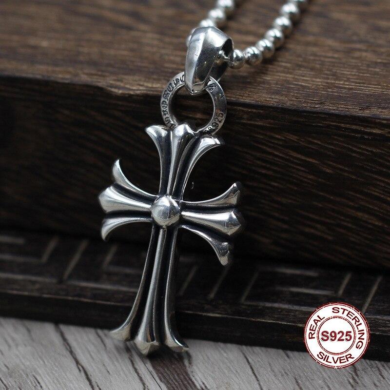 S925 Sterling Argent Hommes de Pendentif Croix Armée fleur bijoux tag Personnalité classiques À La Mode de mode Envoyer un cadeau à amour