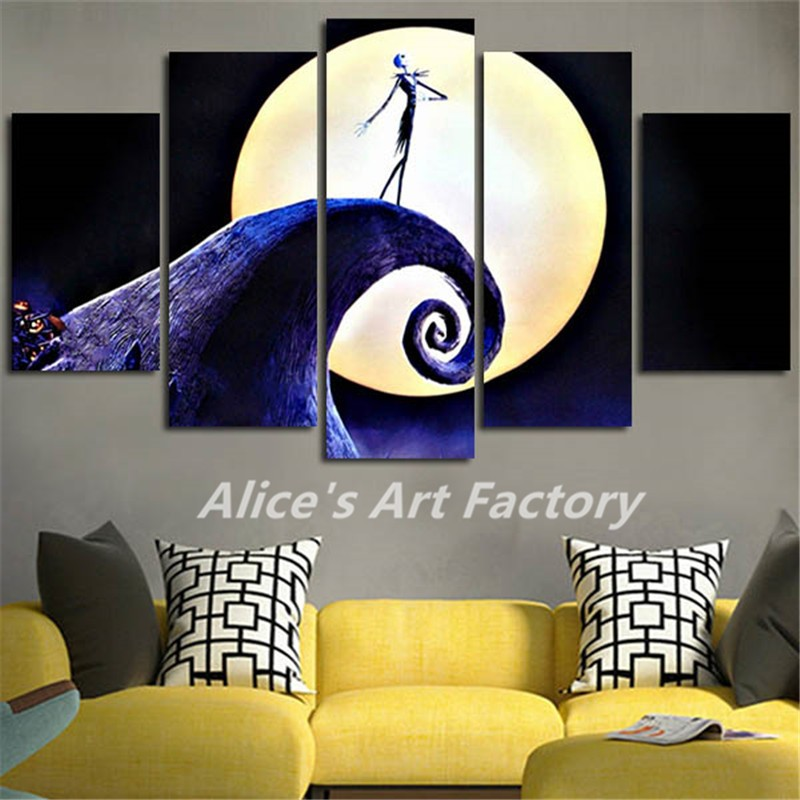 Us 9 9 5piece Canvas Pictures Prints Calligraphy Painting Movie Posters Nightmare Before Christmas Wall Art For Living Room Home Decor In Painting
