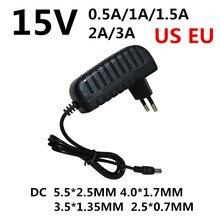 Adaptador dc 15 v, 0.5a 1a 1.5a 2a 3a ac 100-240v conversor, 1 peça adaptador de potência 15 v, volt carregador de fonte de alimentação ue eua plug