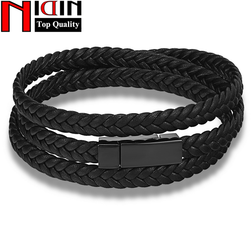 Hot Fashion Men Leather Bracelet Wrap Weave Bracelets for Men Stainless Steel Black Magnetic Punk Cuff Charm Bangles Jewelry opk punk cross bracelet for men length 16 5 21 cm mesh strap band stainless steel black gold color male wrap bracelets gh878