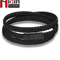 Fashion Men S Black Leather Multilayer Wrap Weave Bracelets For Men Stainless Steel Magnetic Clasp Punk