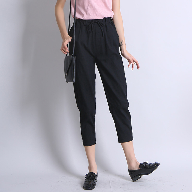 Simply Street Pure Color Crop Pant For Women Summer High Waist Harm Pants