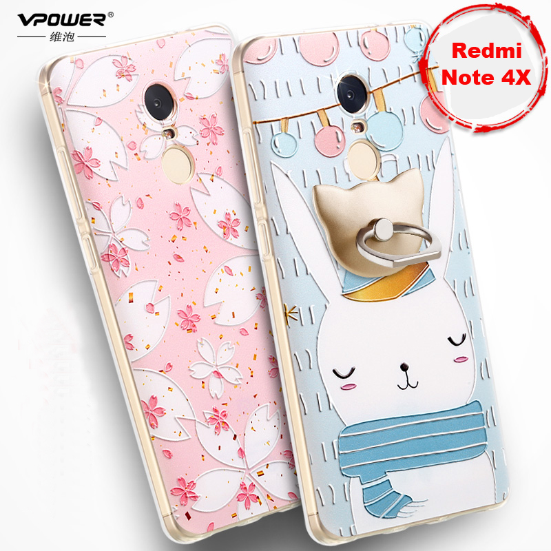 Xiaomi Redmi Note 4X Case Note 4X Cover Vpower 3D Relief Luxury Soft Silicone Print Cases