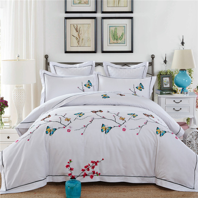 4 6pcs Luxury Butterfly Emboridery Bedding Set King Queen