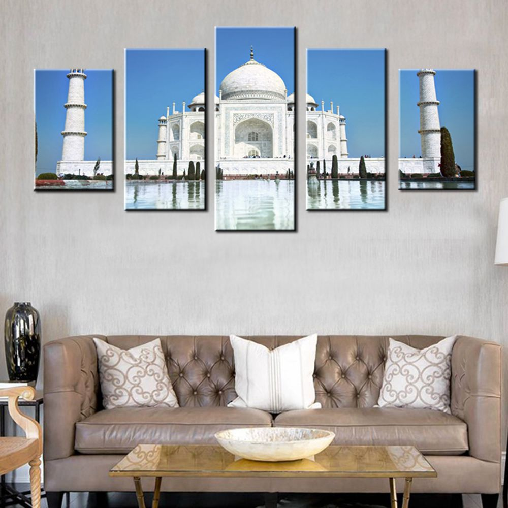 Pearl of India Taj Mahal World Cultural Heritage Photo HD Print 5 Pieces Modular Poster Wall Art Best Gift for Home Decor Custom image