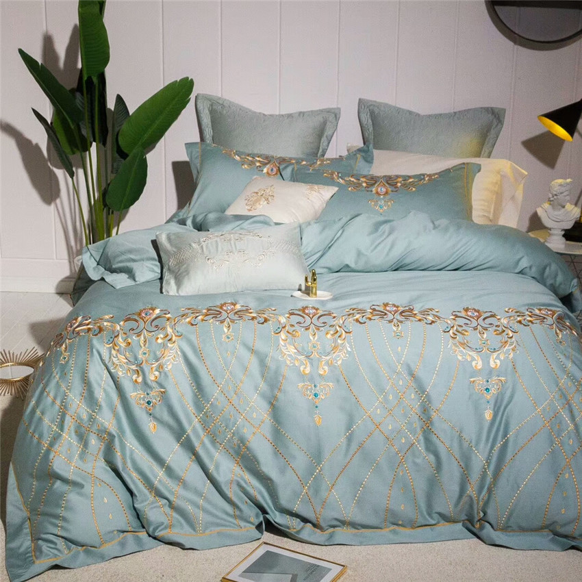 Oriental Embroidery 100%Cotton Blue Modern Luxury Bedding Set 4/7Pieces Queen King Bed Sheet set Duvet Cover Pillowcases #344