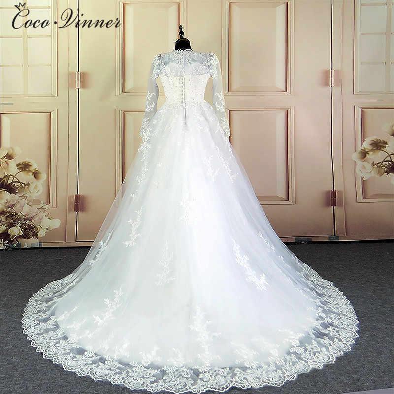 Patten árabe Dubai Elegante Do Vintage Do Laço Branco vestido de Baile Vestido de Casamento Com Mangas Robe De Mariage vestido de Noiva Da Princesa W0030