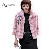 M.Y.FANSTY 2019 Shuba Women's Winter Print Flower Swan Velvet Mink Coat Mandarin Collar Fur Real Fur Coat Short Shawl Mink Coats
