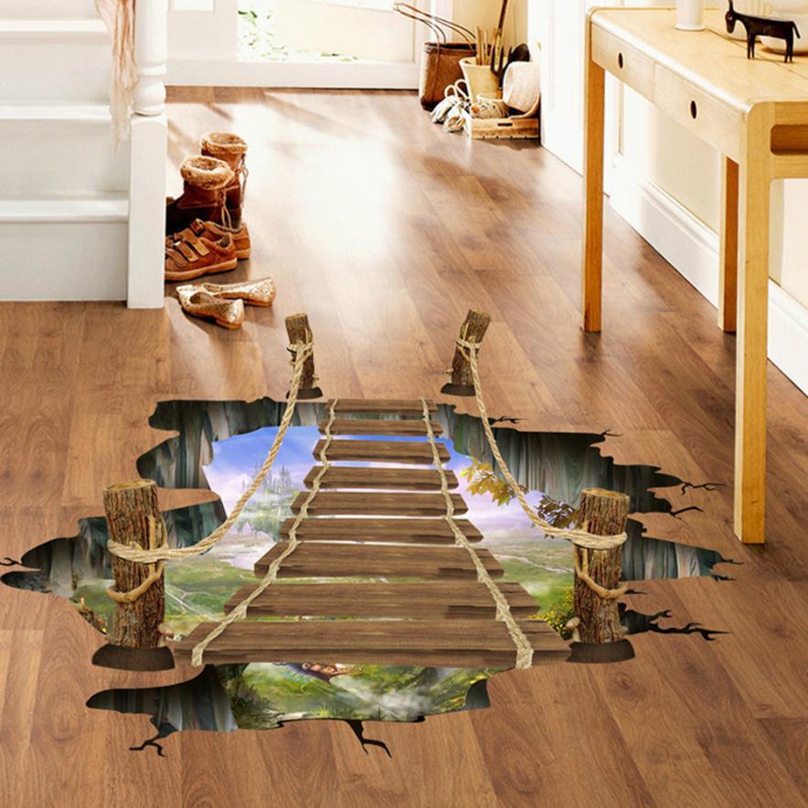 3D Bridge Floor Wall Stickers Removable Mural Decals Vinyl Art Living Room Floor sticker Decor 2O0427