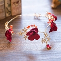 red pink flower gold crystal pearl headband hairhand princess headpiece wedding hair accessories bridal party jewelry T727