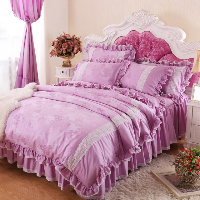 Wedding bedding set queen size korean satin jacquard bed skirts 4pcs purple  lavender romantic. Wedding bedding set queen size korean satin jacquard bed skirts