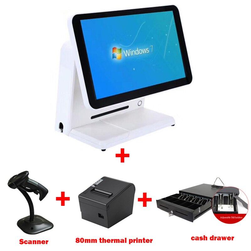 Tout en un POS Set 15 pouces écran tactile vendre avec 80mm imprimante thermique et tiroir-caisse 1 D scanner