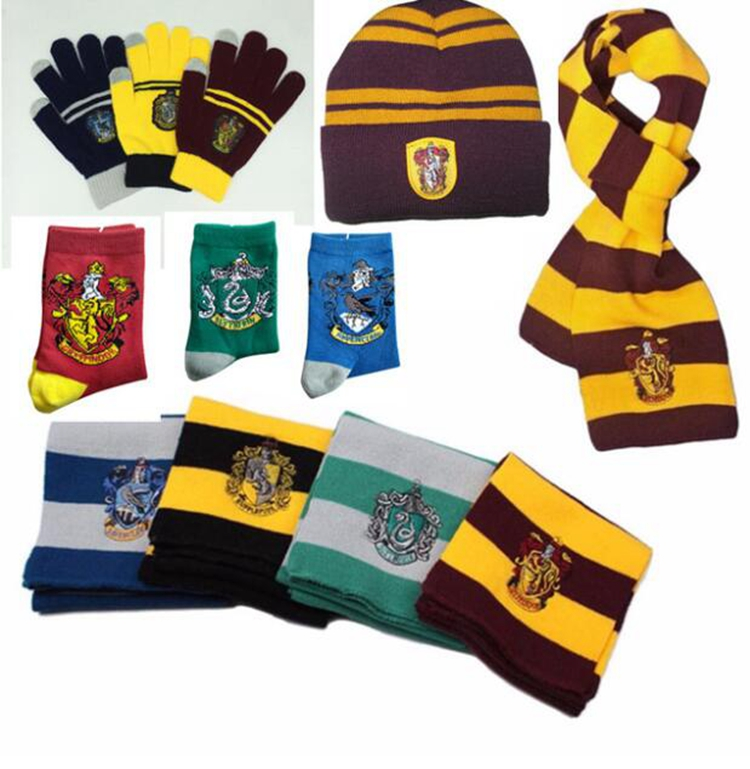 Halloween Harri Potter Accessories Gryffindor Ravenclaw Hufflepuff Slytherin Scarf Socks Gloves Colsplay Glasses Magic Wand Toys