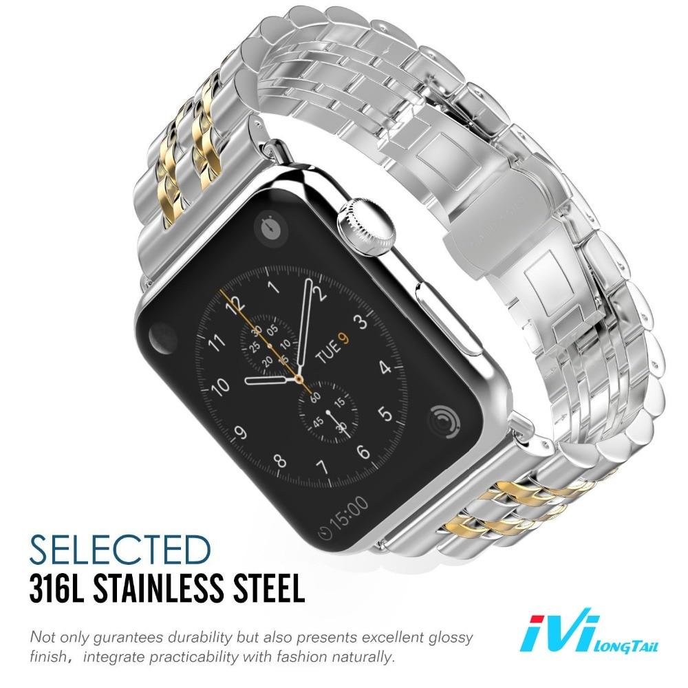 imágenes para IVI Venda de Reloj de la Correa de la Cubierta para Apple Serie 1 2 38mm 42mm Hebilla de Mariposa de Acero Inoxidable de Oro Rosa de Plata Negro para iwatch nueva