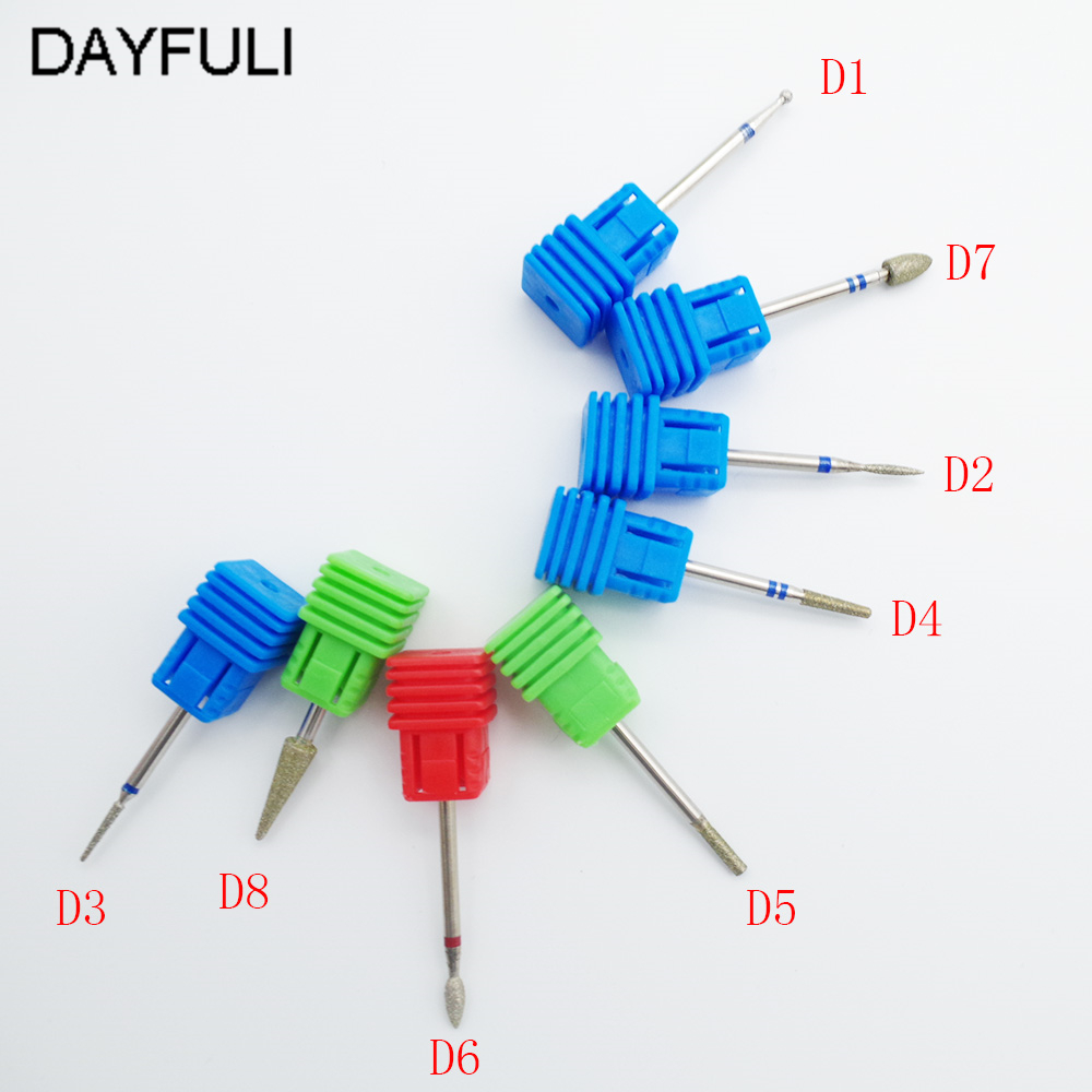 8 Type Nail File Drill Bit Tool Diamond Burr Milling Cutter For Manicure Electric Nail Machine Drill Beauty Nail Art Accessories new ceramic nail art drill bit umbrella shape nail art grinding stone head for electric manicure drill machine file tool