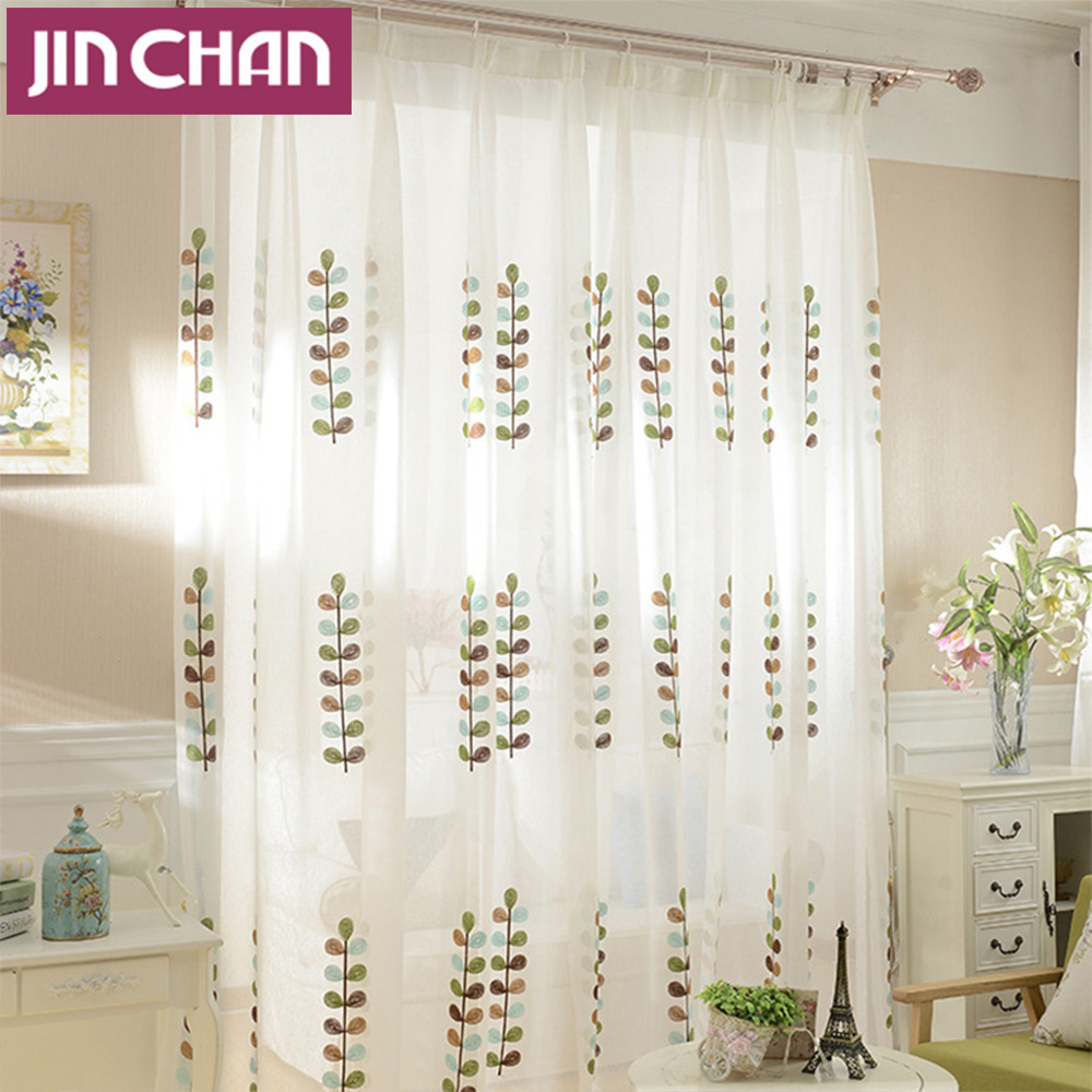 Belk Kitchen Curtains: Plant Embroidered White Modern Window Tulle Curtains For