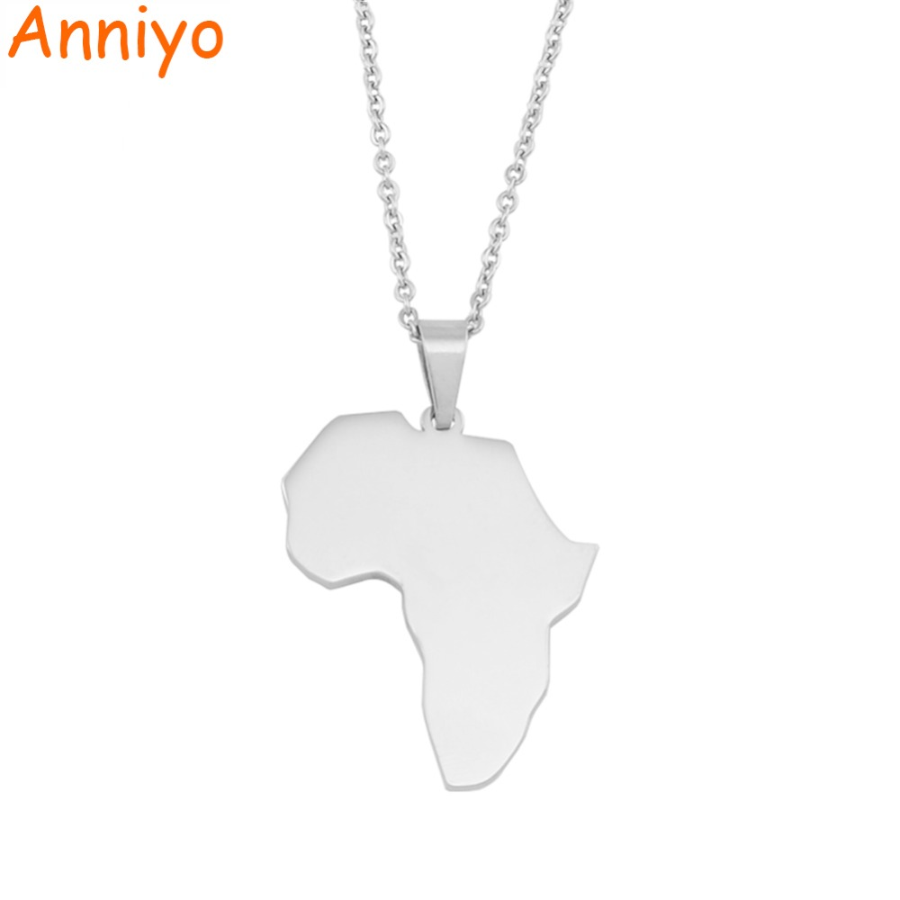Anniyo Africa Map Pendant Necklace Silver Polishing Stainless Steel Jewelry Brand Fashion Jewellery African Gifts #058921
