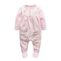 العطاء الأطفال لطيف الربيع الرضع الملابس الوليد رومبير الشتاء القدمين بذلة مودا الفتيات الأزهار المطبوعة طويلة الأكمام المعطف