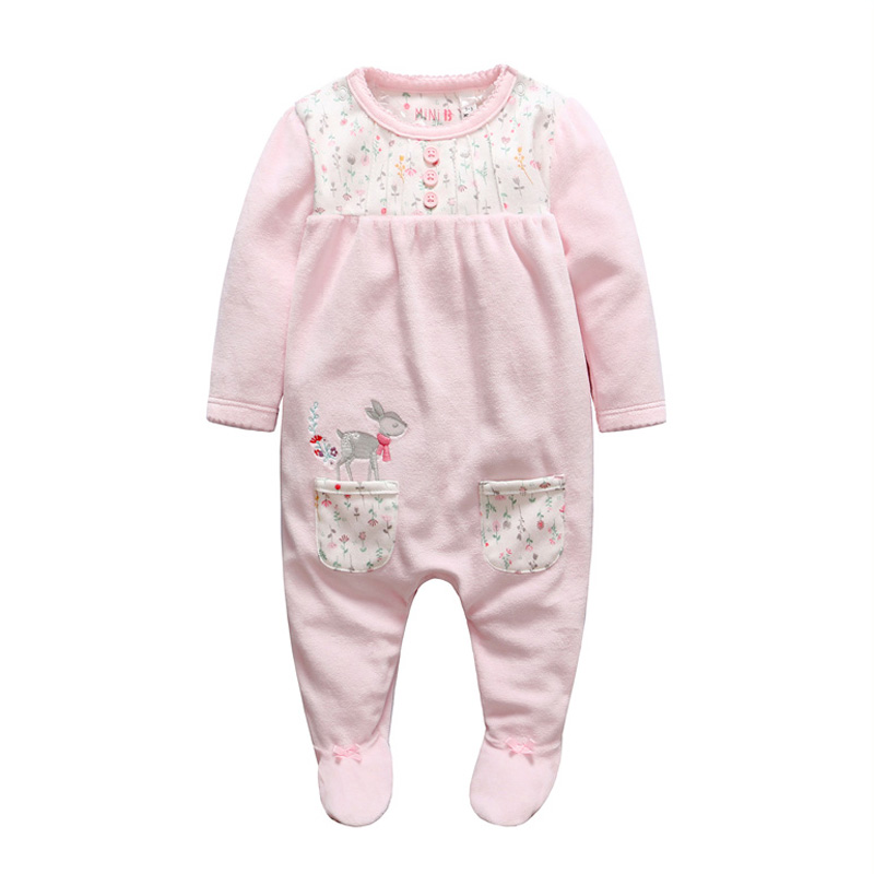 Tender Babies Cute Spring infant clothes newborn baby romper winter Floral print footed Jumpsuit moda girls Long Sleeve Coverall pudcoco newborn infant baby girls clothes short sleeve floral romper headband summer cute cotton one piece clothes