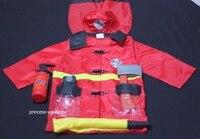 HALLOWEEN 6PC Jacket Fireman Kids Child Party Unisex Costume Set Fun Wear 3 7Y MAC51