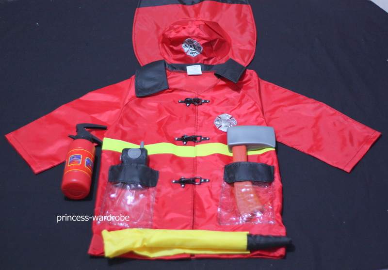 HALLOWEEN 6PC Jacket Fireman Kids Child Party Unisex Costume Set Fun Wear 3-7Y MAC51 forum novelties men s teenz unisex costume toga