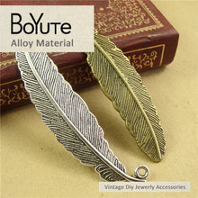 BoYuTe 30 Pieces Lot 52 12MM Antique Bronze Silver Plated Zinc Alloy Feather Pendant Diy Jewelry