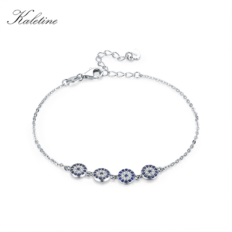 Kaletine 925 Sterling Silver Bracelet New Fashion Turkey Lucky Evil Eye Cubic Zirconia Genuine Silver Jewelry for Bracelet Woman silver colored plated sterling silver cubic zirconia cz hamsa hand evil eye pendant 16 2 extender n1312 01