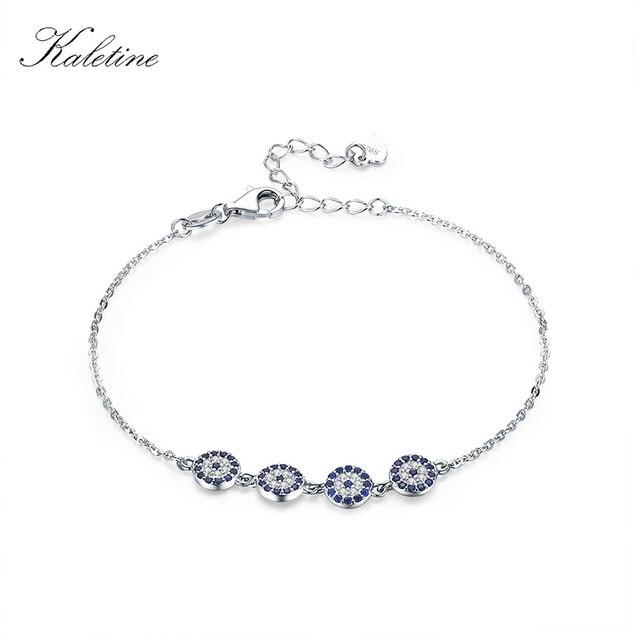 7057e70f768a80 Kaletine 925 Sterling Silver Bracelet New Fashion Turkey Lucky Evil Eye  Cubic Zirconia Genuine Silver Jewelry for Bracelet Women