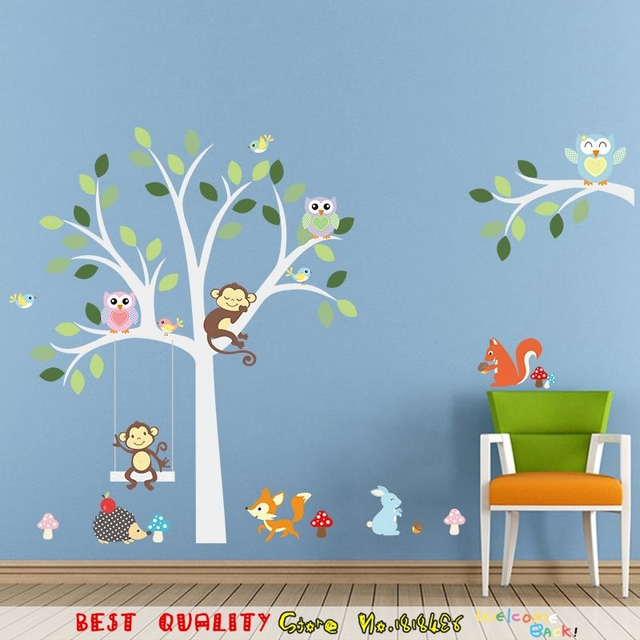 Cute Jungle Animals Wall Sticker Kids Room Decoration Removable Wall Paper  Craft Wallpaper Home Decals Owls