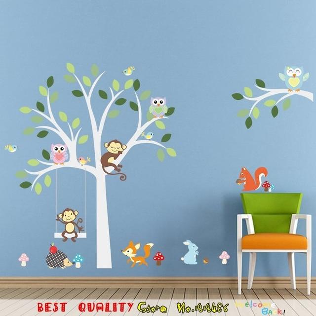 Amazing Nette Dschungel Tiere Wandaufkleber Kinderzimmer Dekoration Entfernbare  Papier Handwerk Tapete Startseite Decals Eulen Affe Baum Druck Great Ideas