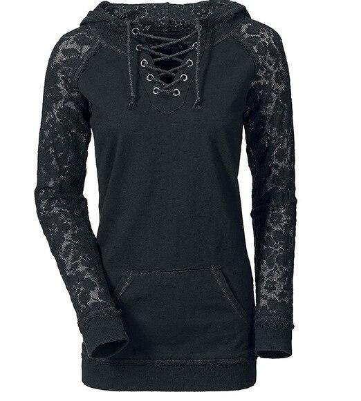 Sweatshirts Hoodie Lace Stitching Drawstring Chest Simple Sweatshirt