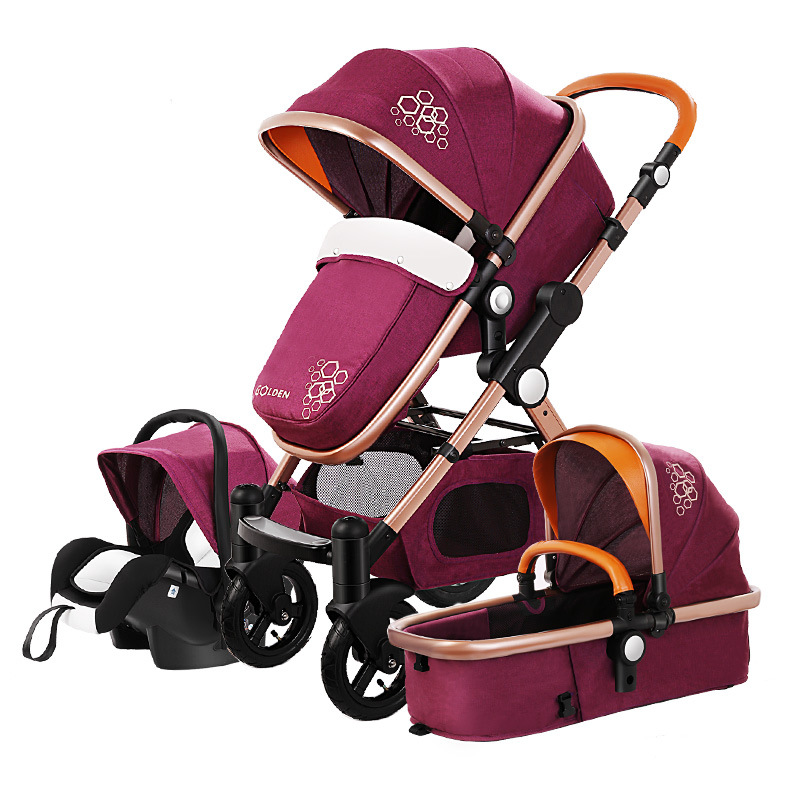 High View Luxury Infant Baby Stroller 3 In 1 Four Wheel Folding