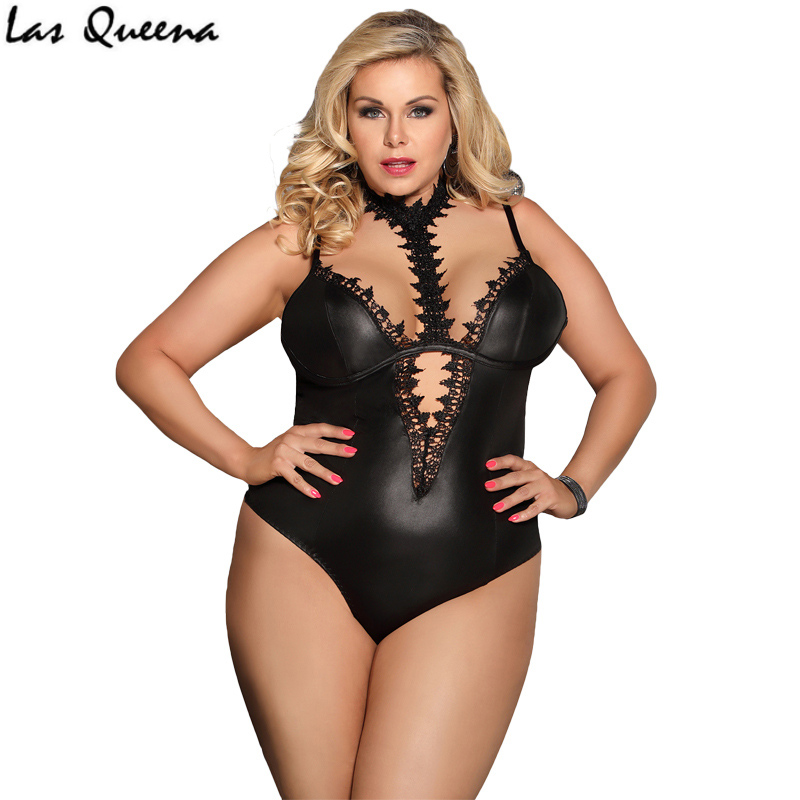 Sleeveless Sexy Hot Teddy Lingerie Choker Neck Sexy Lingerie Women Lace Hot Bodysuit Plus Size Intimo Sexy Erotic Sex Body Suit in Teddies Bodysuits from Novelty Special Use