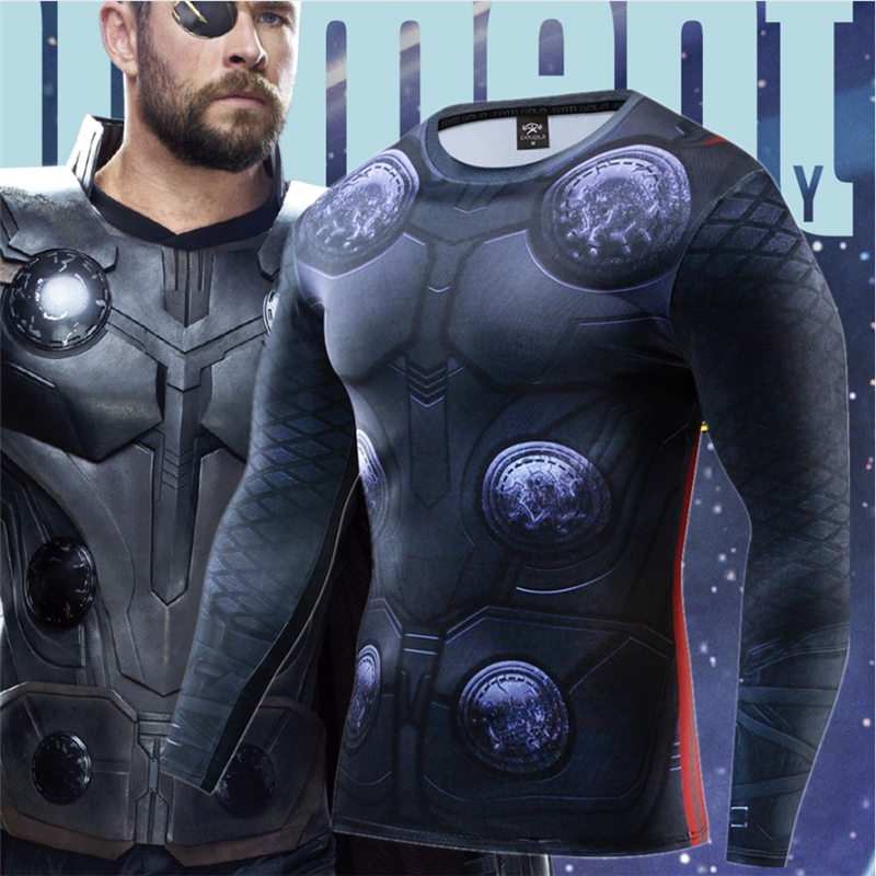 2019 Marvel series Raytheon Warrior Avengers 4 new clothing men's sports and fitness quick-drying shirt long-sleeved men's tight(China)
