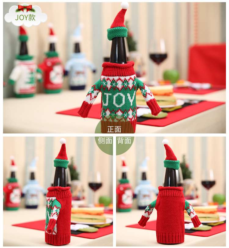 2pcs/set Christmas Decorations Wine Bottle Sweater Cover Bag Santa Claus Knitting Hats for New Year Xmas Home Dinner Party Decor 8