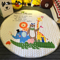 Children Cartoon Play Game Carpet Pads Skidproof Round Baby Crawling Mat INS Styles Storage Blanket Forest Animals Pattern Pad