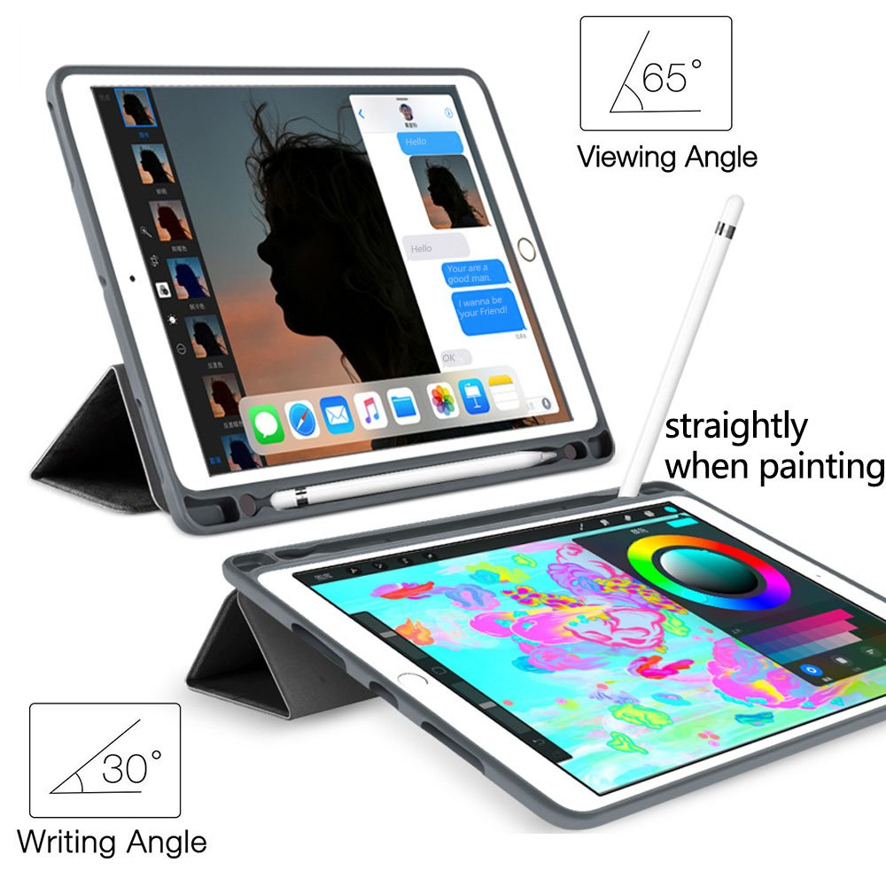 For iPad 10 2 2019 Case with Pencil Holder for Apple iPad 7 7th Generation A2197