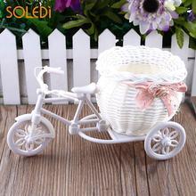 Белый пластиковый трехколесный велосипед, дизайнерская Цветочная корзина, контейнер для цветочного растения, украшение для дома, украшение для дома, Прямая поставка