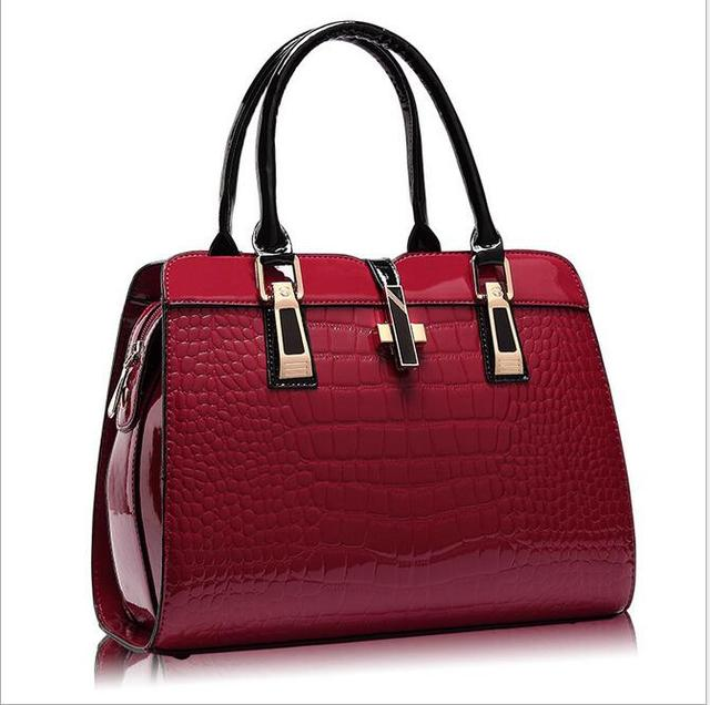 e28e7fa788 2017 Charm in hands Elegant Alligator Patent Leather Women Handbag Big  Women s Shoulder Bags Cross Lock