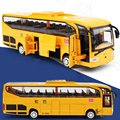 Diecast Metal Model 1:32 Alloy Pull Back Musical Big School Bus Gift Toy Cars Free Shipping