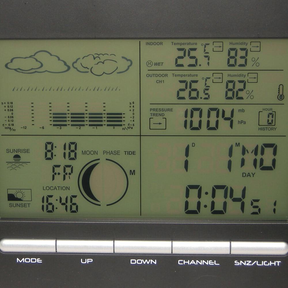 Orų stoties skaitmeninis barometro laikrodis su termometru - Matavimo prietaisai - Nuotrauka 3